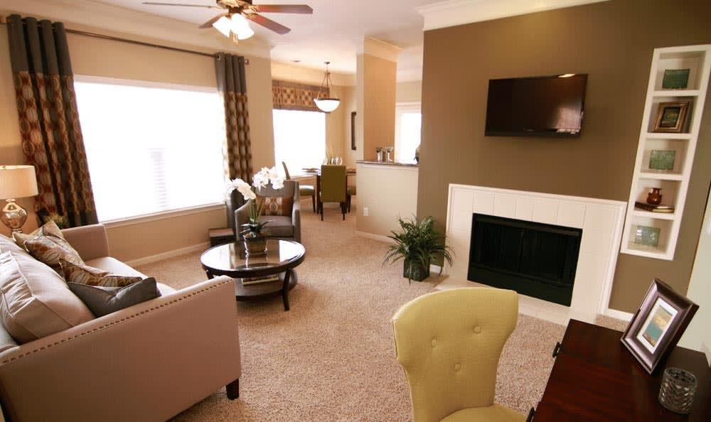 Fireplace at apartments in Overland Park
