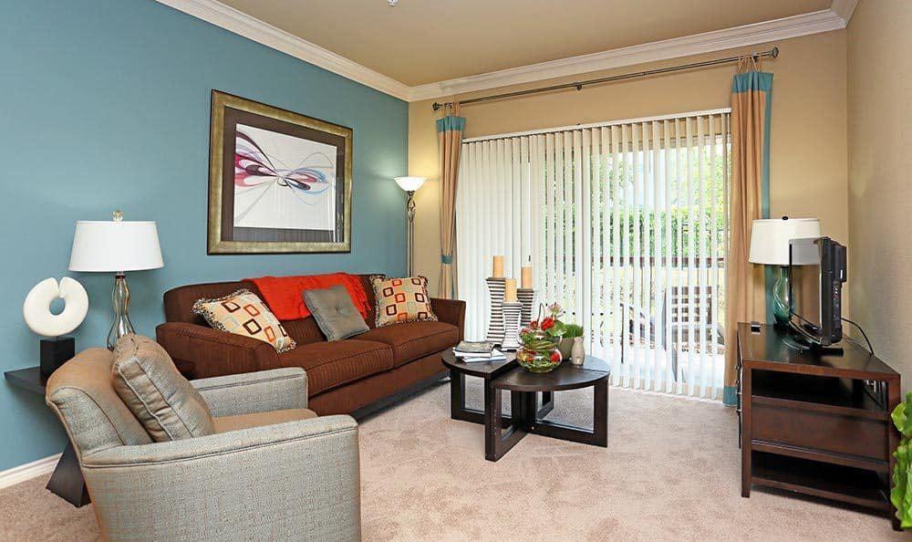 Living room at Sorrento at Tuscan Lakes apartment homes