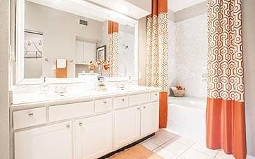 Model unit master bathroom at Elle at The Medical Center