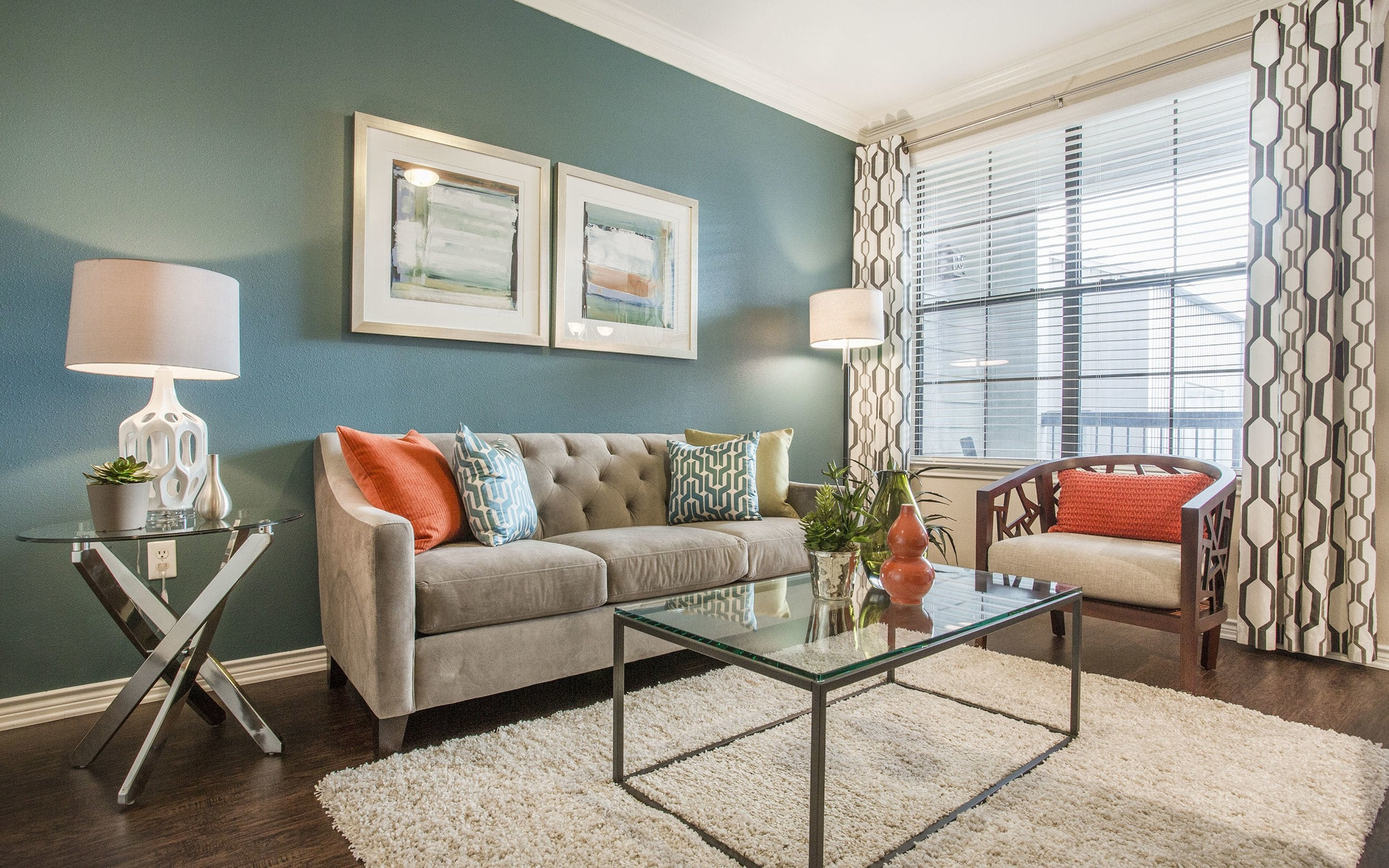 Living Room at Verdir at Hermann Park in Houston, Texas