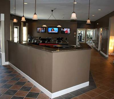 Amenities include the residents lounge at Stadium Suites