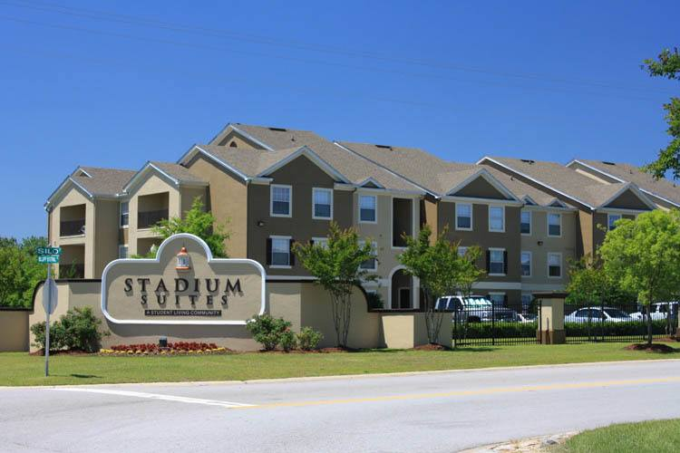 Exterior of student housing apartments in Columbia