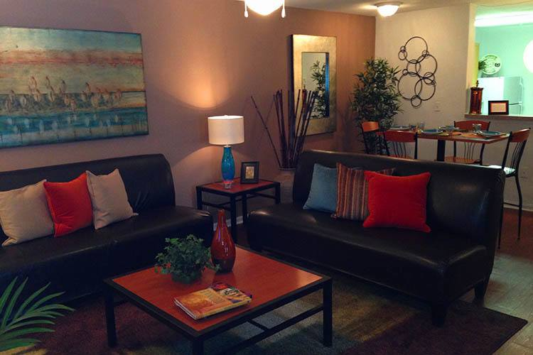 Living room at student housing apartments in Columbia