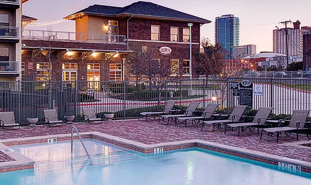 Our sparkling swimming pool at The Depot has excellent views of downtown.