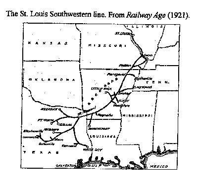 Map of the St. Louis Southwestern line, as of 1921.