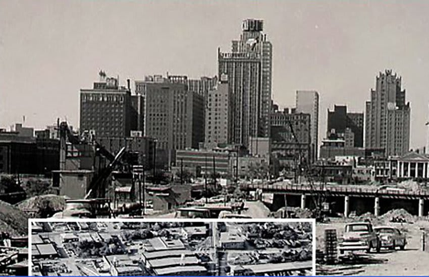 Early 1900's view of construction progress at Forest Place Apartments