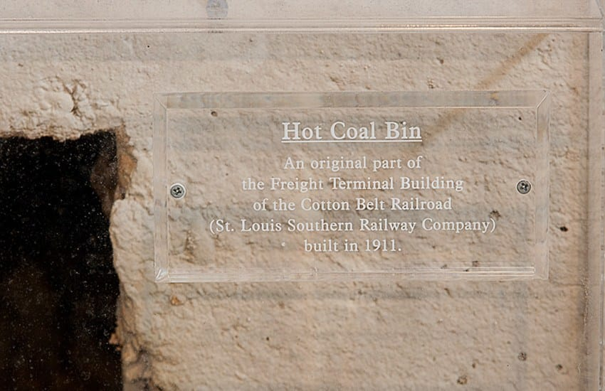 Photo of the hot coal bin, also preserved as part of Azalea Village Apartments's history.