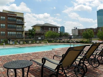 Our expansive pool deck on another beautiful day here in Fort Worth, TX.