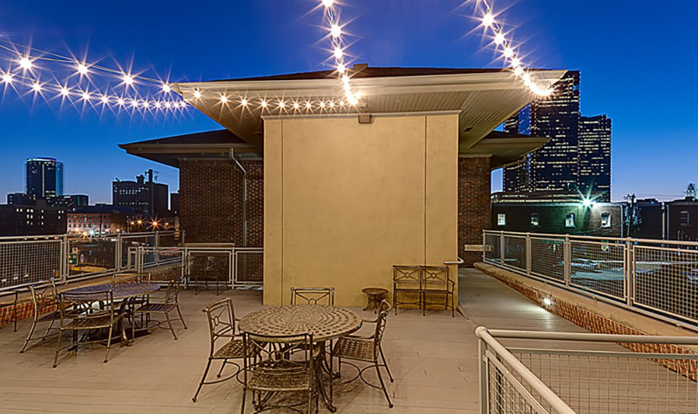 Our rooftop lounge has incredible Fort Worth skyline views here at The Depot.