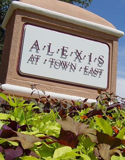 Our sign welcomes current and new residents, and their friends and family, here at Alexis at Town East