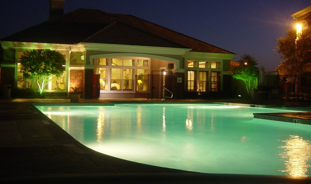 Evening shot of the swimming pool at our luxury apartment community here in Mesquite, TX