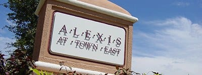Our sign welcoming all who visit our beautiful apartment community here at Alexis at Town East