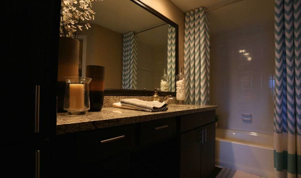 Apartment bathroom at Southwind at Silverlake Apartments in Pearland, TX