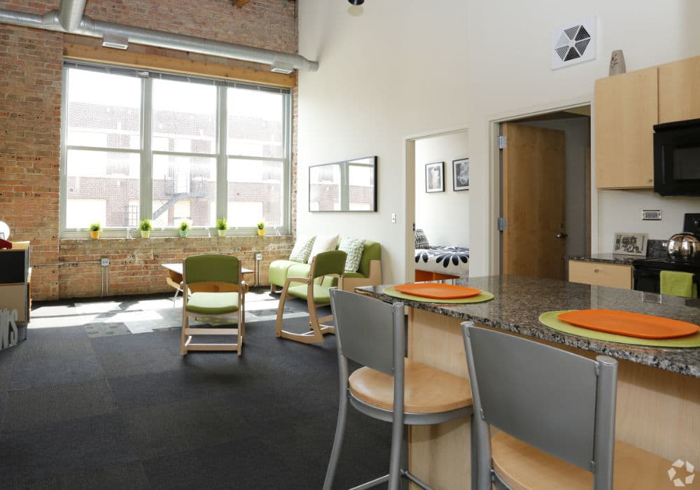 Dining room at The Automatic Lofts in Chicago, IL
