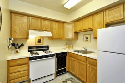 Model kitchen at Glenwood Apartments