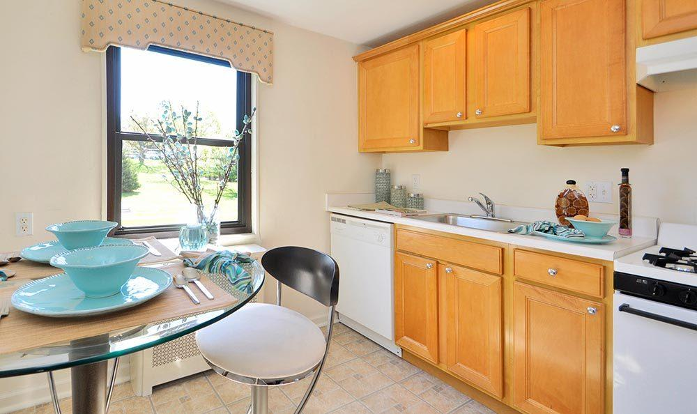 Large kitchens at apartments for rent at Richfield Village Apartments in Clifton.