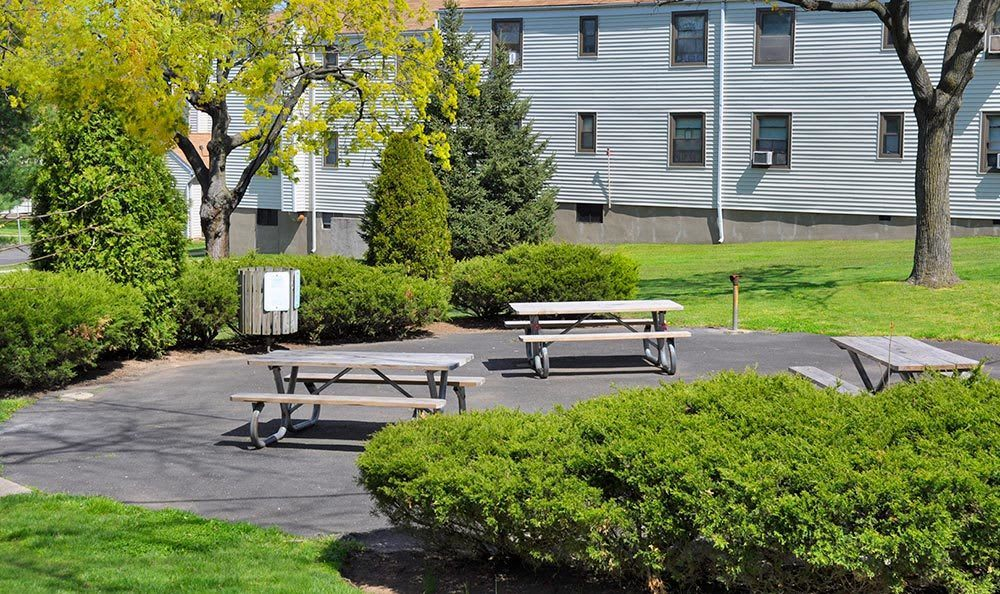 Picnic area at apartments for rent at Richfield Village Apartments in Clifton.