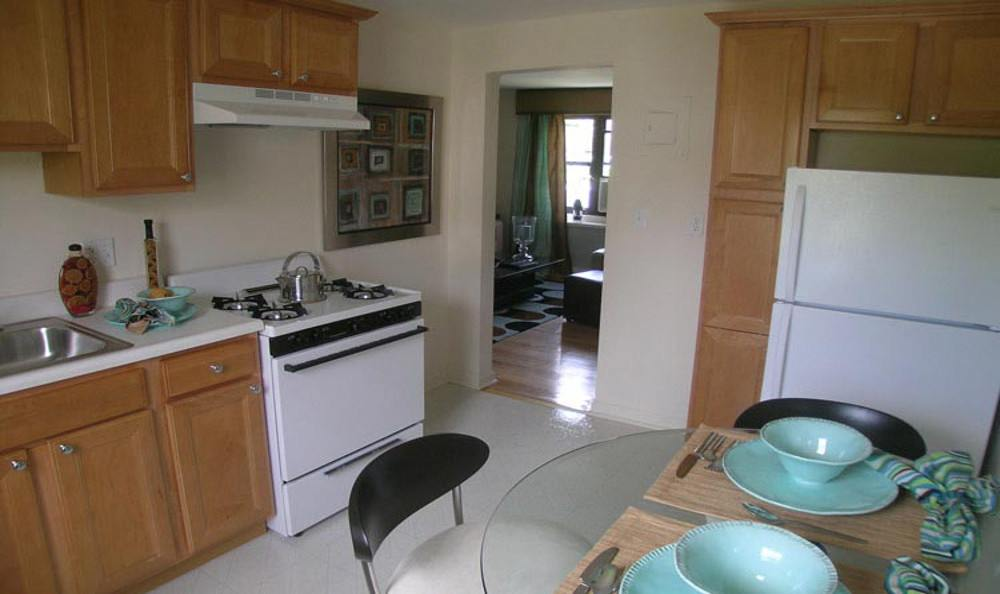 Kitchen and dining area at Brookchester Apartments in New Milford.