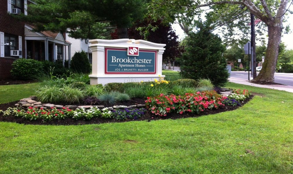 Monument sign at Brookchester Apartments in New Milford.