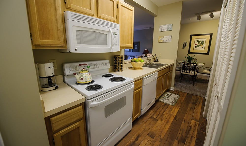 Kitchen at Mill Pond Village Apartments in Salisbury.