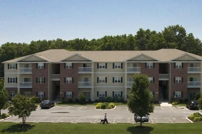 Exterior of apartments for rent at Mill Pond Village Apartments in Salisbury, Maryland