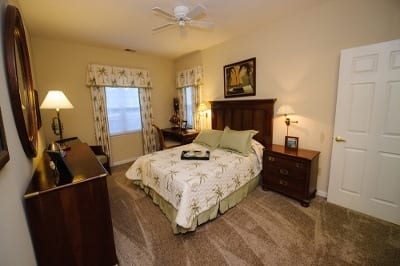 Example bedroom at apartments for rent at Mill Pond Village Apartments.