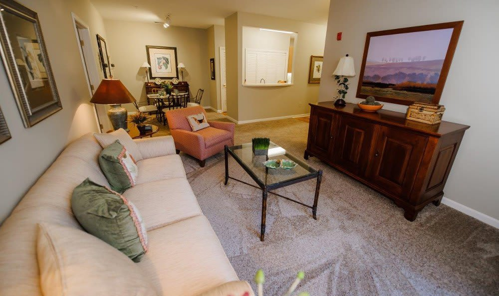Living room at Mill Pond Village Apartments in Salisbury.