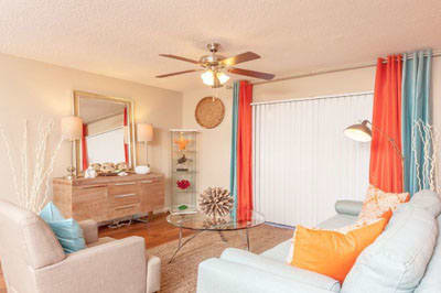 Living area at Palmetto Place Apartments in Kendall Miami