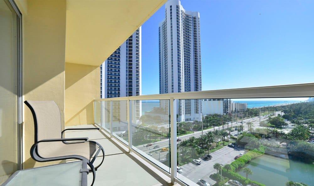 Private balcony at Marina del Mar in Sunny Isles Beach.