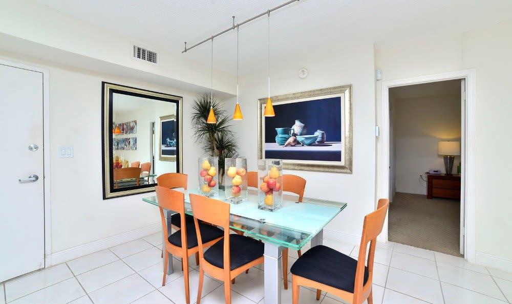 Dining room at Marina del Mar in Sunny Isles Beach.