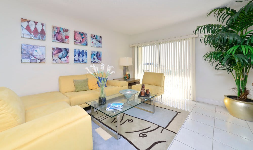 Living room at Marina del Mar in Sunny Isles Beach.