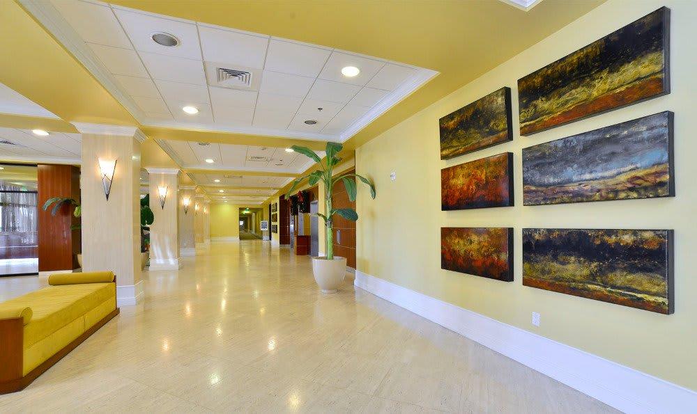 Apartment lobby at Marina del Mar in Sunny Isles Beach.