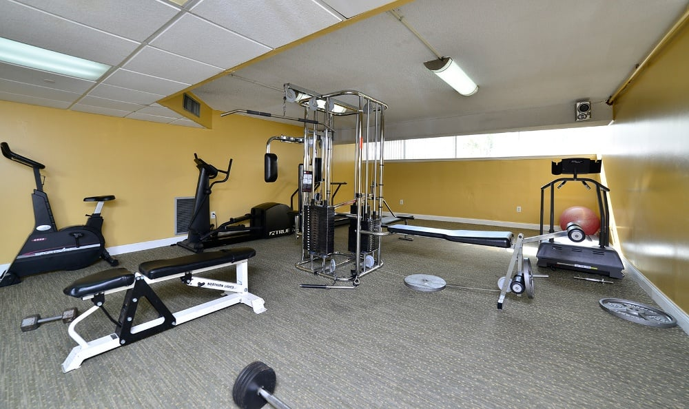 Fitness center at Forest Place Apartments in North Miami.