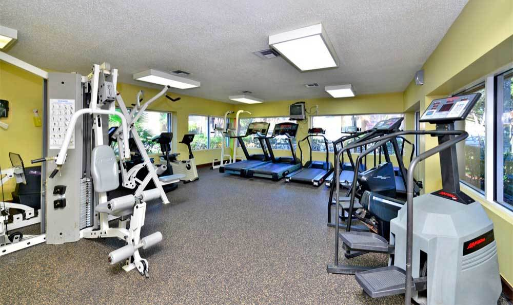 Fitness center at Fairway View Apartments in Hialeah.