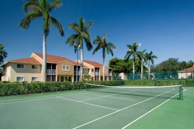 Tennis court at apartments for rent at Azalea Village Apartments.