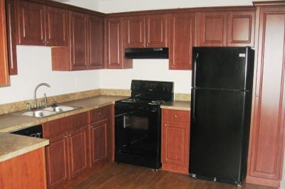 Example kitchen at apartments for rent at Azalea Village Apartments.