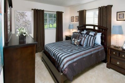 Example bedroom at apartments for rent at Azalea Village Apartments.
