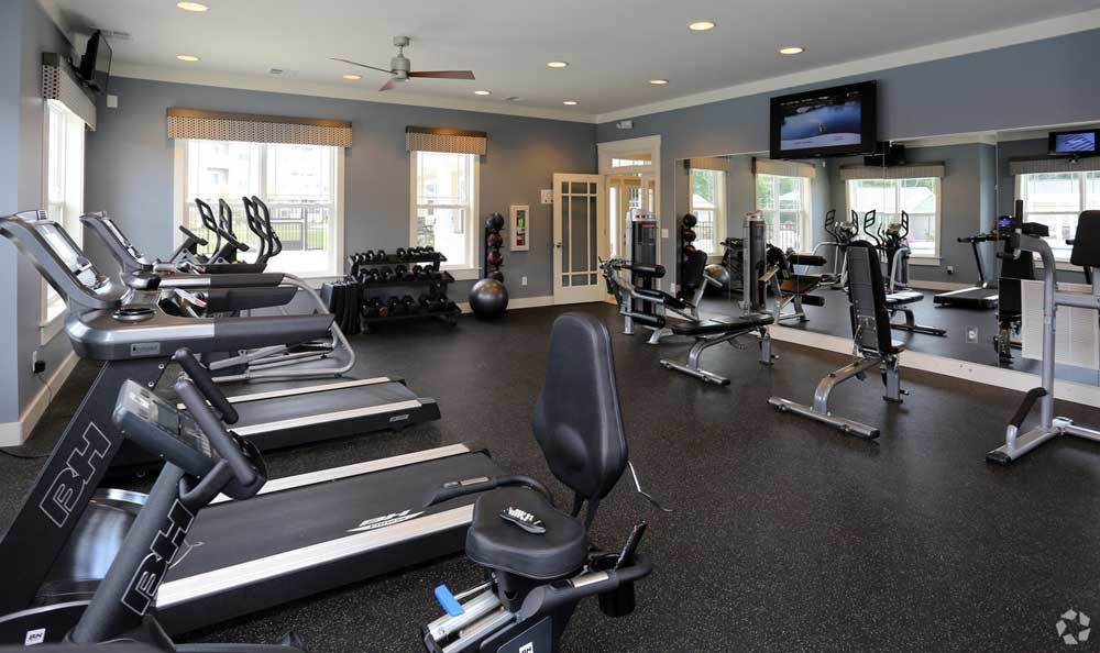 Fitness center at Addison Court in Salisbury.