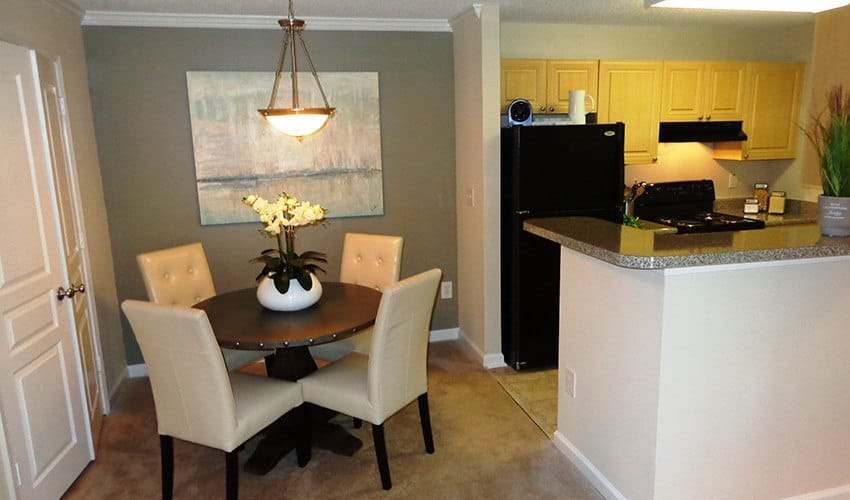 View of the dining room in one of our model units at The Vinings at Newnan Lakes in Newnan, GA