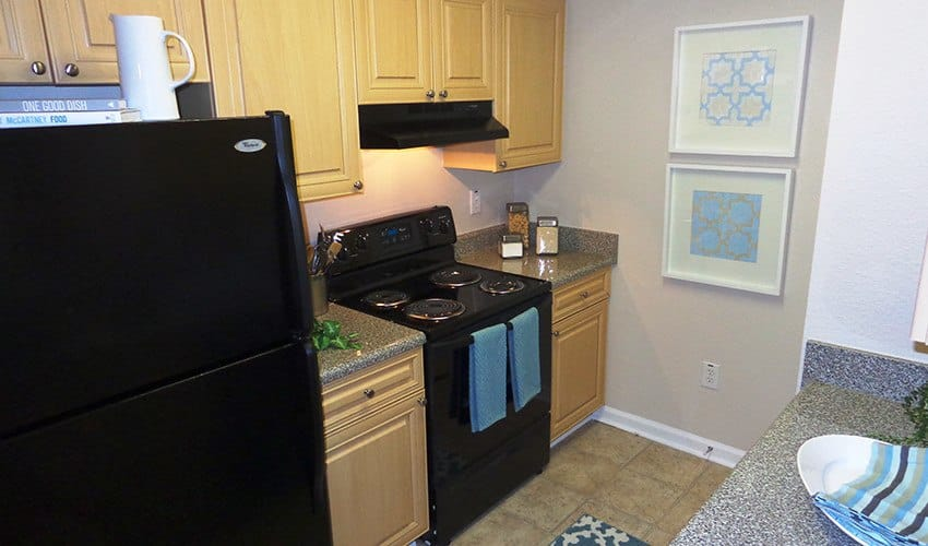 The kitchens in our apartment homes at The Vinings at Newnan Lakes in Newnan are filled with modern appliances and conveniences.