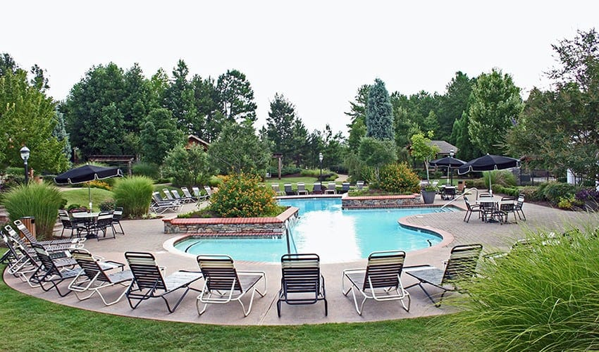 Our sparkling swimming pool and surrounding area at The Vinings at Newnan Lakes is not something to be missed.