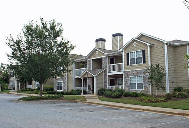 View of the exterior of one of our resident buildings here at The Vinings at Newnan Lakes.