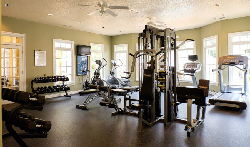 Modern weight room here at Mariners Crossing apartments in raleigh