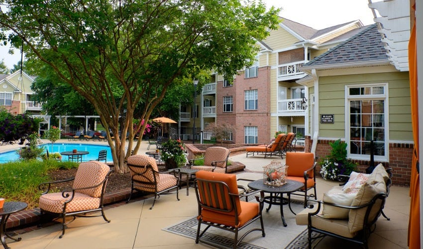 Residents and their guests are welcome to take a dip and lounge by the pool at Mariners Crossing