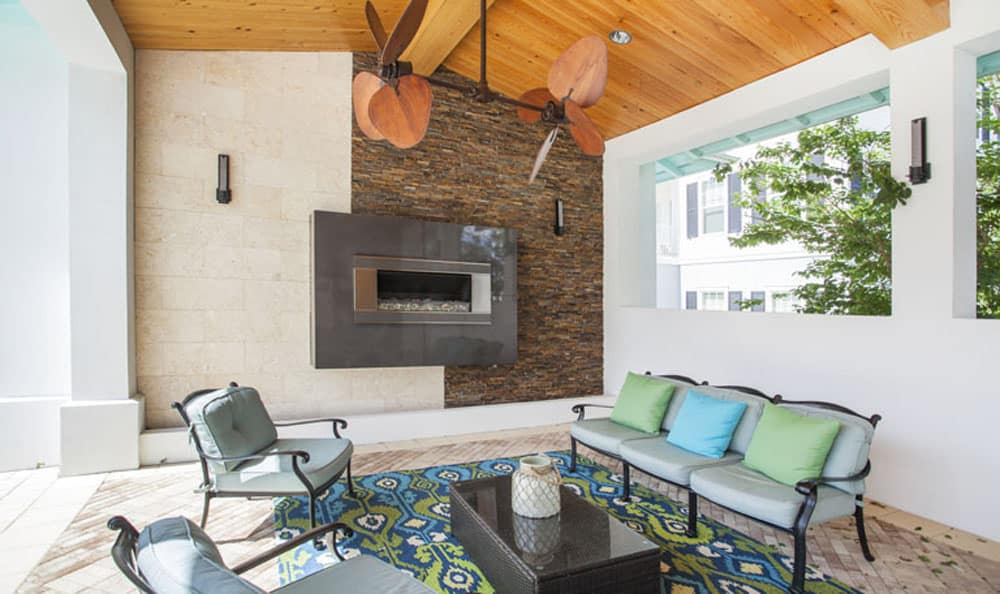 Covered outdoor fireplace at Emerson at Celebration in Celebration, FL