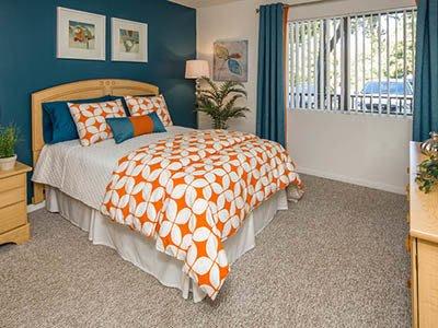 Bedroom at night at apartments in Tampa, FL