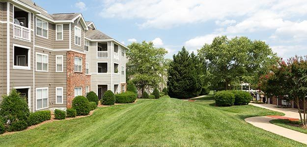 View of our always spectacular landscaping around our luxury apartment community here in Raleigh