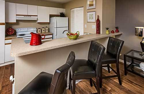 Enjoy a breakfast bar at the breakfast bar in the homes at Park East Apartments!