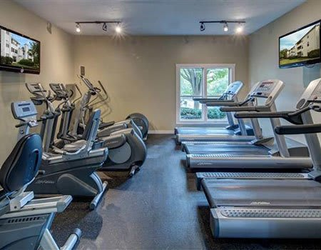 The fitness center at The Madison at Eden Brook