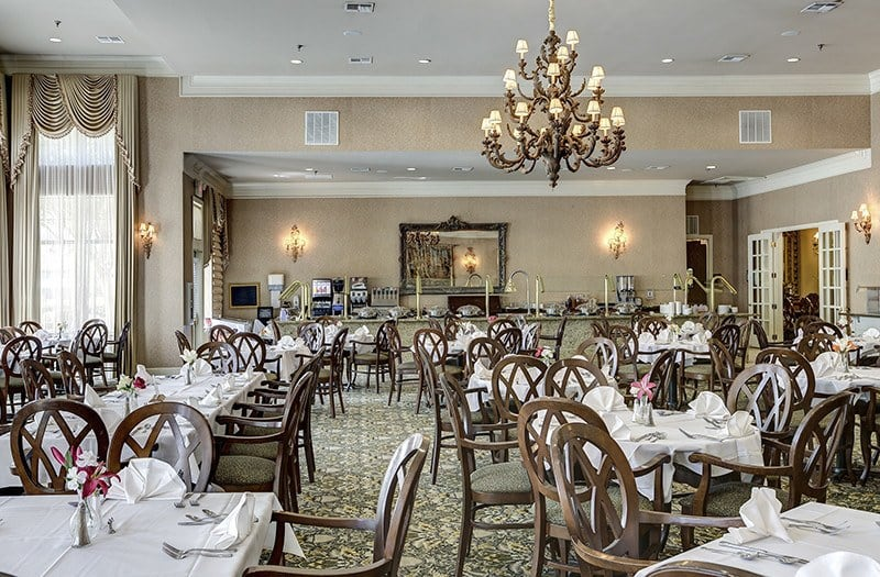 Another view of the grand Dining Room at our gorgeously appointed senior living community in Keller.